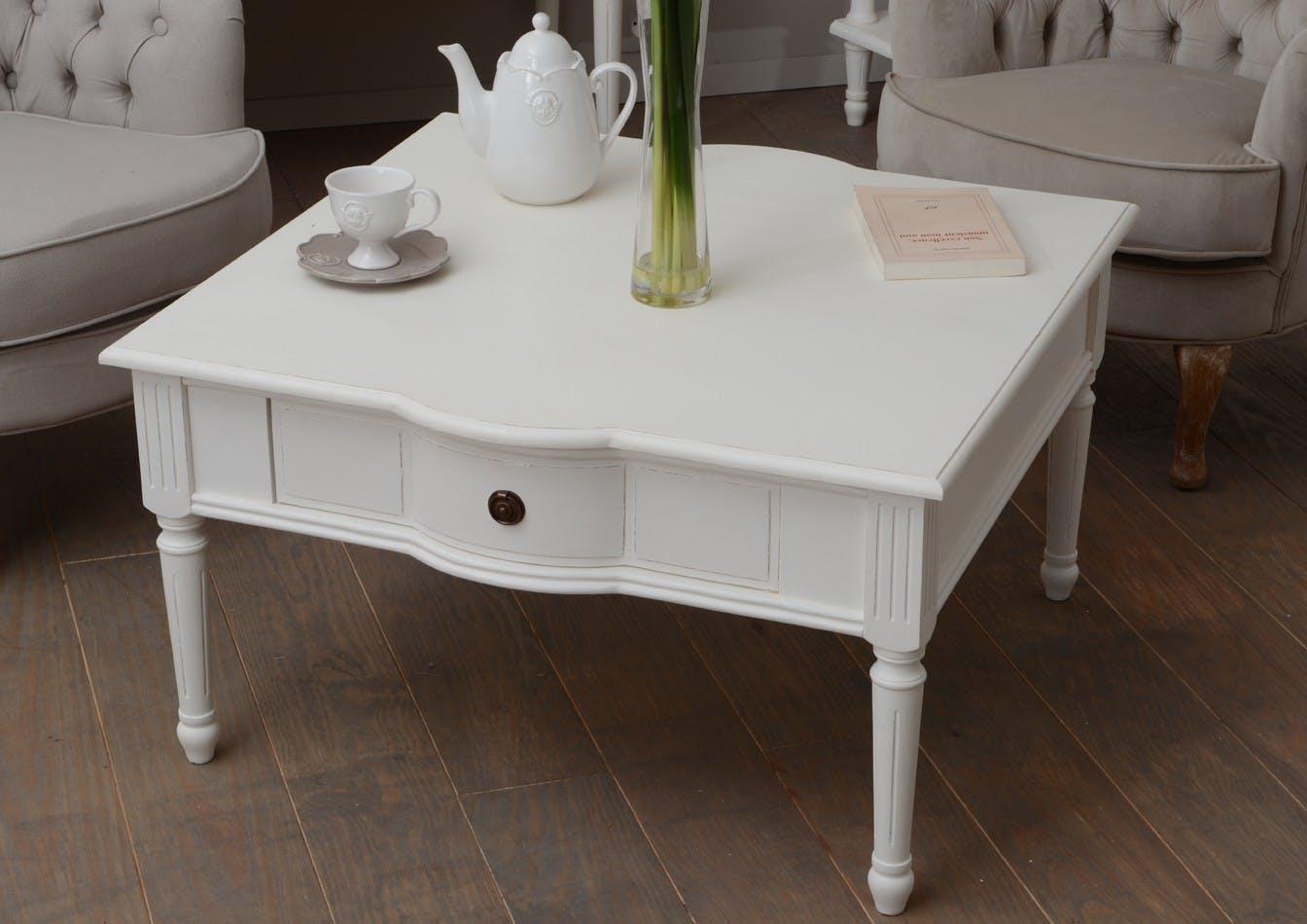 Table basse Classique Chic 1 tiroir AGATHE Long 80 X Larg 80 X H 45 Blanc Antique ADAMEUS