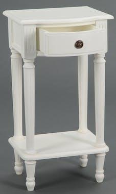 Chevet / Table téléphone Classique Chic AGATHE L45 X P30 X H75 Blanc Antique AMADEUS