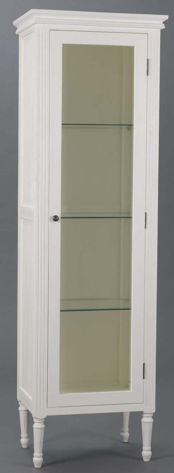 Vitrine Classique Chic  4 niveaux,1 porte AGATHE L 55 X P 40 X H 180 Blanc Antique AMADEUS