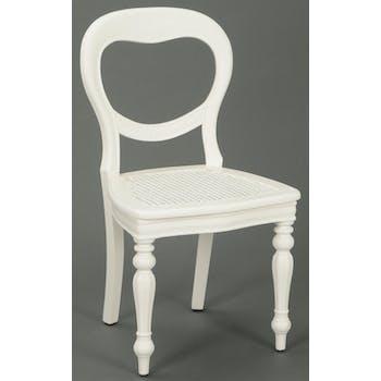 Chaise cannée Classique Chic AGATHE L 52 X P 55 X H 91 Blanc Antique AMADEUS