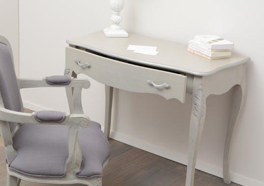 Bureau Baroque 1 tiroir LAURENCE L 100 X P 50 X H 78 Gris clair Antique AMADEUS