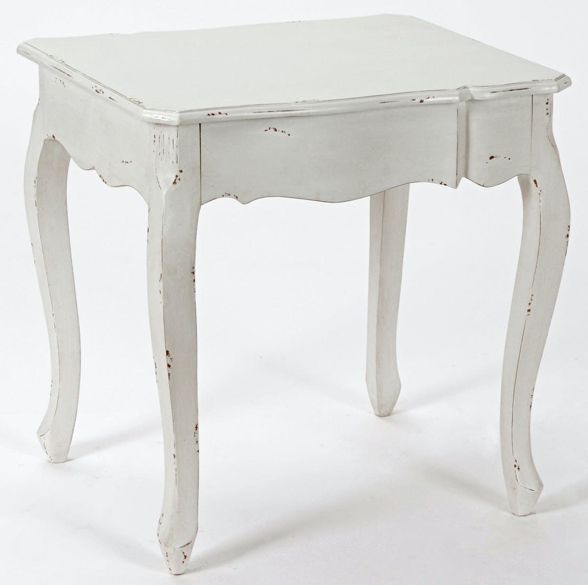 Bout de canapé Romantique HARPE Long 60 X Larg 50 X H 60 Crème Antique vieilli AMADEUS