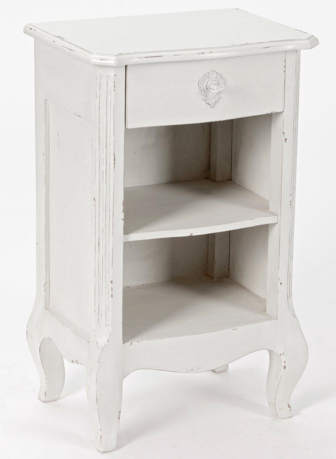 Table de chevet Romantique 3 plateaux, 1 tiroir HARPE L40 X P30 X H65 Crème Antique vieilli AMADEUS