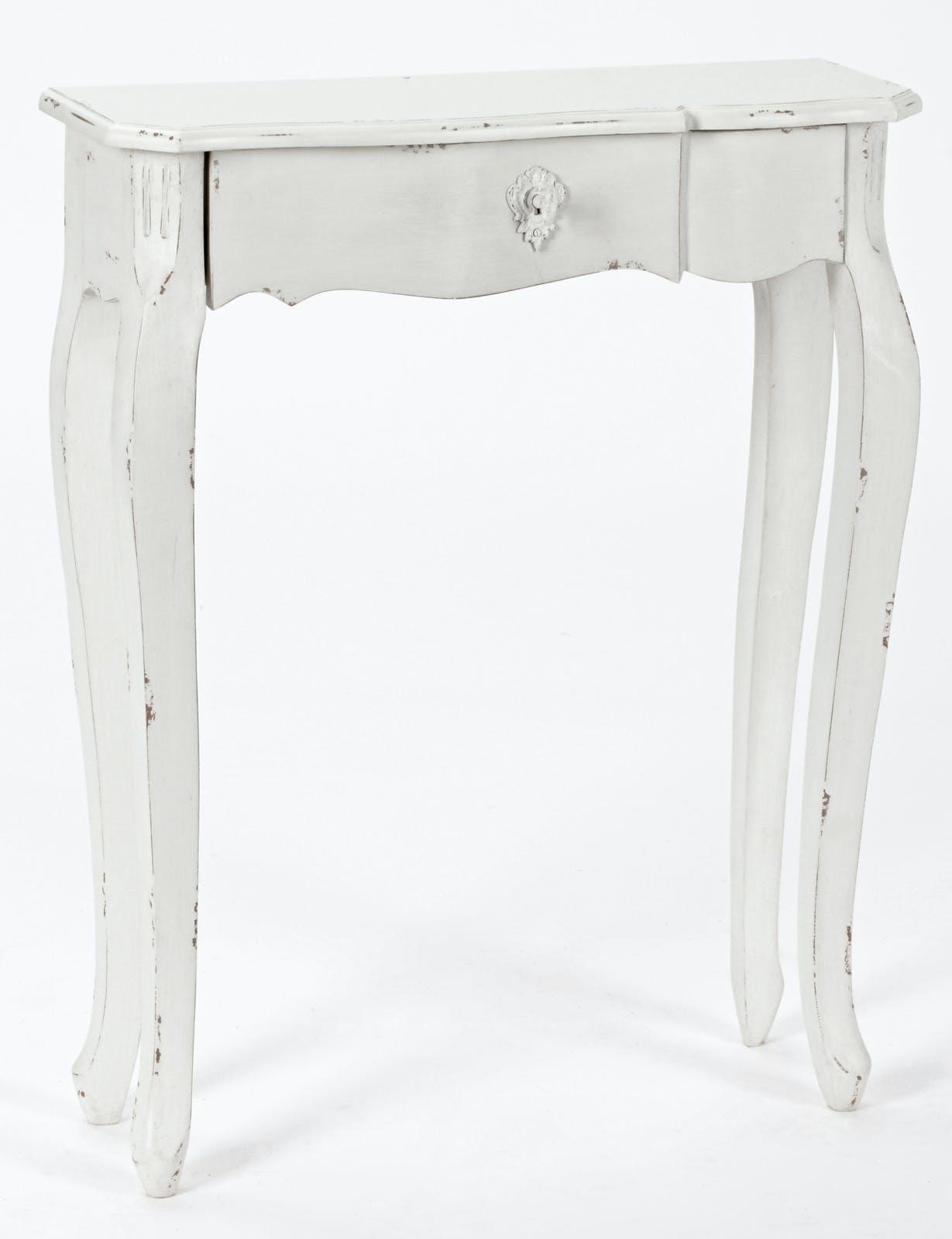 Console Romantique 1 tiroir HARPE L 60 X P 20 X H 75 Crème Antique vieilli AMADEUS