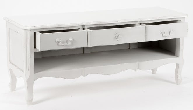 Meuble TV Romantique 3 tiroirs, 1 niche HARPE L 120 X P 40 X H 50 Crème Antique vieilli AMADEUS