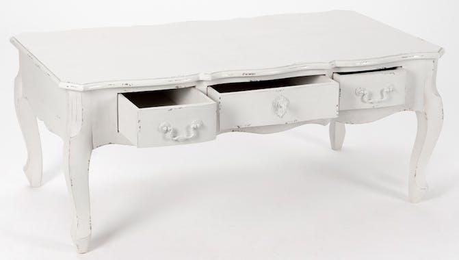 Table basse Romantique 3 tiroirs HARPE Long 110 X Larg 60 X H 45 Crème Antique vieilli AMADEUS