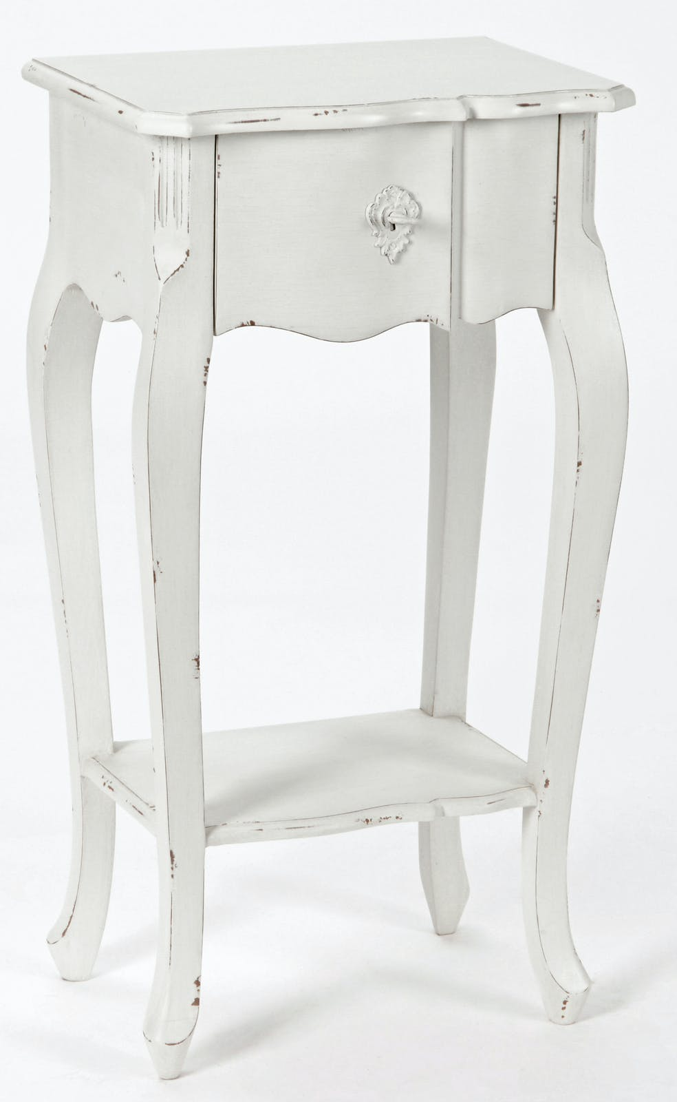 Chevet / Table téléphone Romantique double plateaux, 1 tiroir HARPE L40 X P30 X H75 Crème Antique vieilli AMADEUS