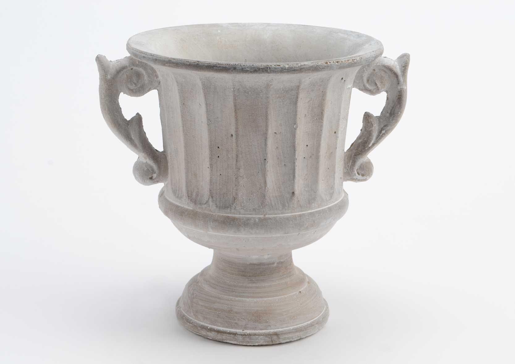 Cache pot pierre grise forme coupe antique avec poignées 20x22x19cm