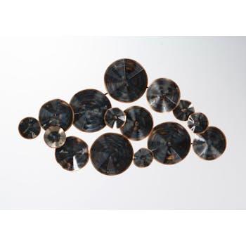 Décoration murale métal cercles noirs effets de couleurs 91x51cm