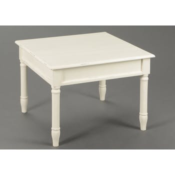 Table basse chic en bois patiné crème BRICE L60 X Larg60 X H45cm AMADEUS