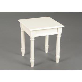 Bout de canapé / Table d'appoint chic en bois patiné crème BRICE L40 X Larg40 X H45cm AMADEUS
