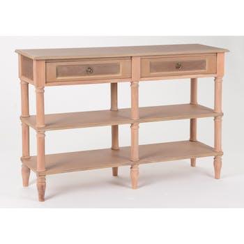 Console drapier chic en bois prêt à peindre 6 pieds 3 plateaux 2 tiroirs BRICE L120 X P35 X H80cm AMADEUS