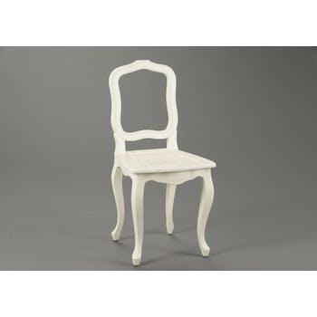 Chaise cannée romantique en bois patiné crème MERVEILLE H93cm AMADEUS