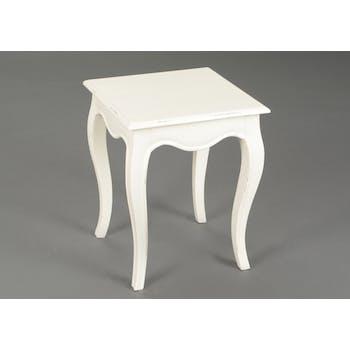 Bout de canapé / Table d'appoint romantique en bois patiné crème MERVEILLE L40XLarg40XH50cm AMADEUS