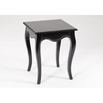 Bout de canapé / Table d'appoint romantique en bois patiné noir MERVEILLE L40XLarg40XH50cm AMADEUS