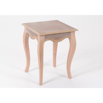 Bout de canapé / Table d'appoint romantique en bois prêt à peindre MERVEILLE L40XLarg40XH50cm AMADEUS
