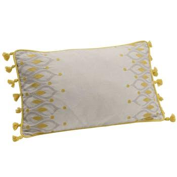 Coussin rectangle housse 100% coton gris et moutarde avec motifs plumes de paon et pompons 30x50cm