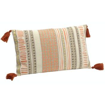 Coussin rectangle housse 100% coton avec motifs géométriques colorés et pompons 30x50cm