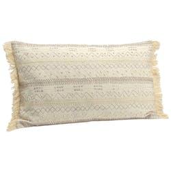 Coussin rectangle housse 100% coton beige avec perles et franges couleur sable 30x50cm