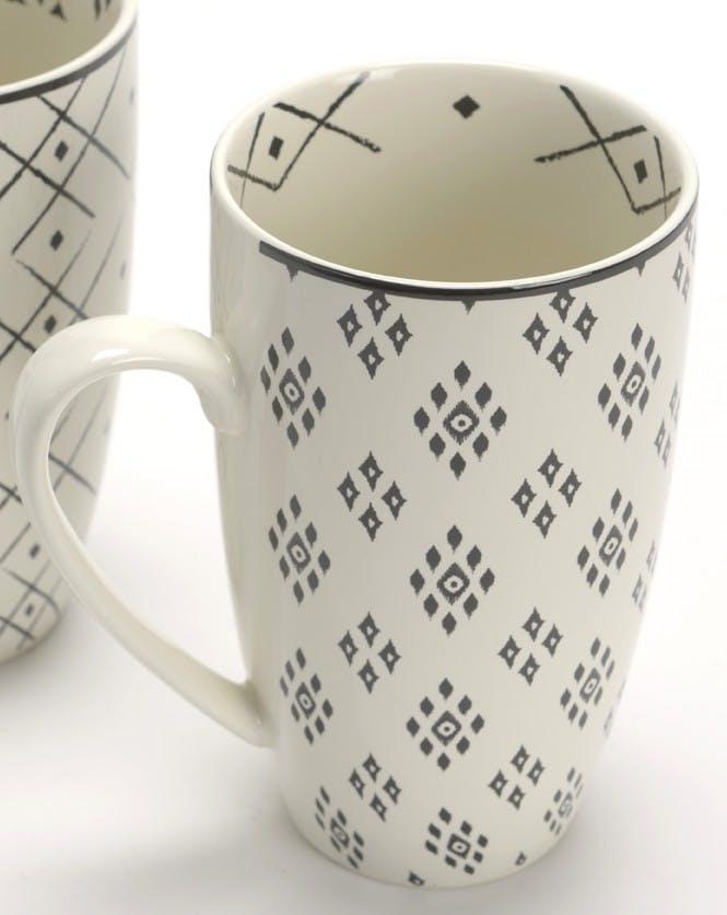 Coffret mug XL porcelaine écrue et noire avec motifs losanges