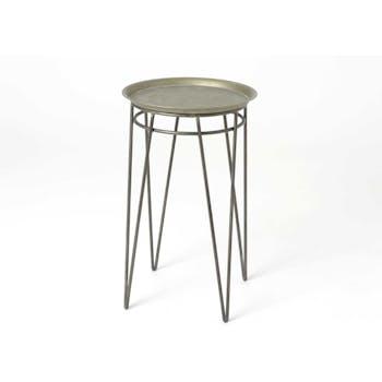 Bout de canapé / Sellette ronde métal couleur argentée avec plateau amovible et pieds en épingle 2 tiges D39 H64cm