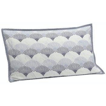 Coussin rectangle housse 100% coton bleu et écru avec motifs éventails 30x50cm