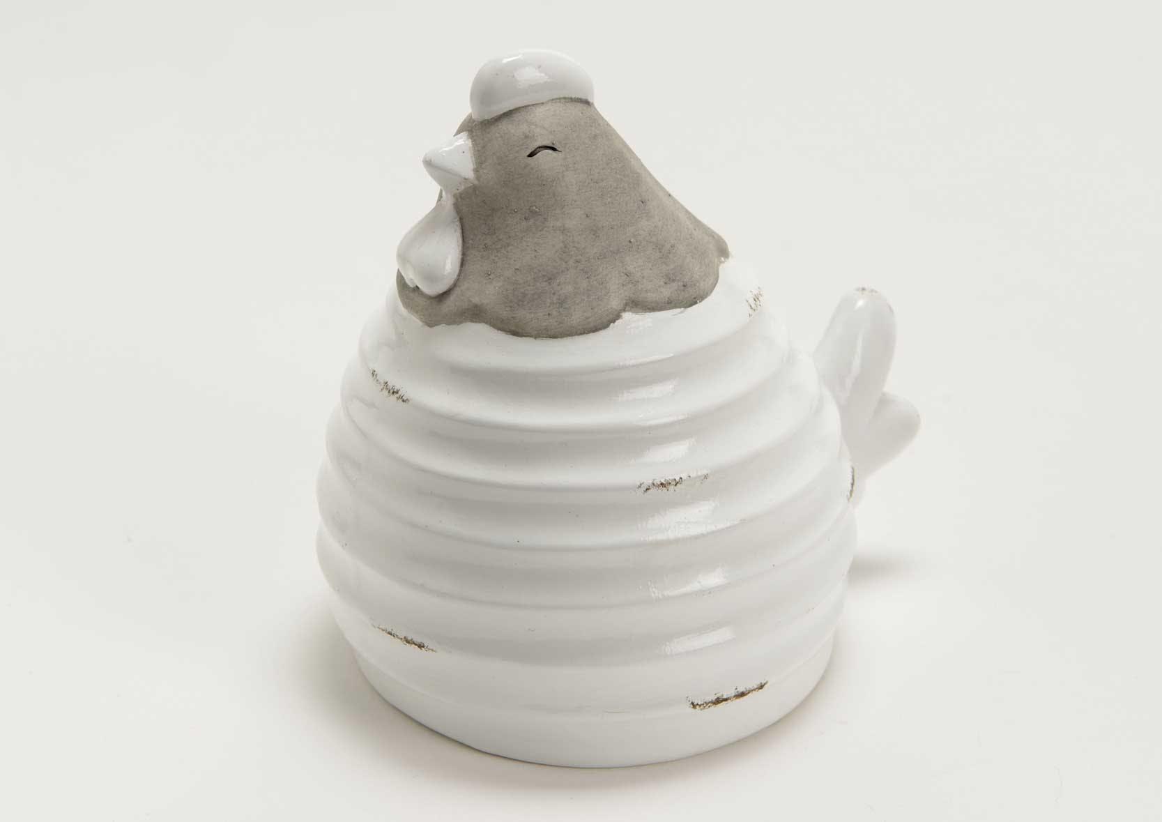 Poule terracotta striée blanche et taupe aspect brillant et mat 10x12x14cm