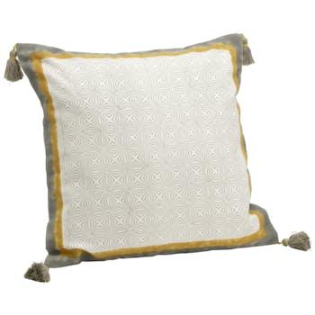 Coussin carré housse 100% coton écru, gris et jaune avec motifs et pompons 40x40cm