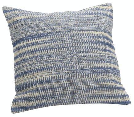 Coussin carré housse 100% coton bayadères bleues effet toile de jute 40x40cm