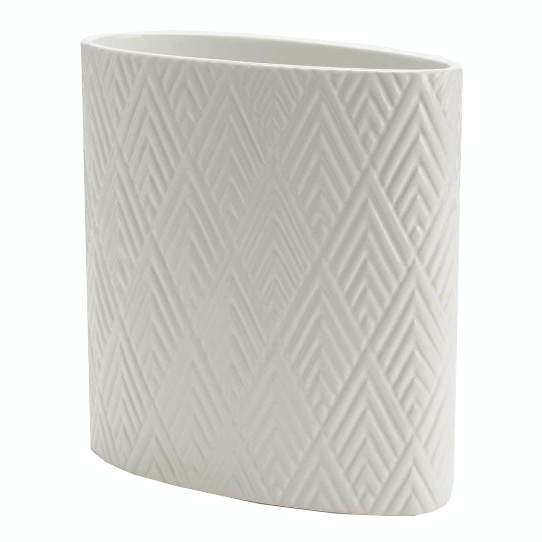 Vase oval blanc aspect brillant avec motifs géométriques 22x11x22cm