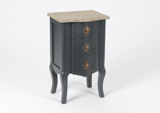 Table de chevet Baroque 3 tiroirs CELESTINE ARDOISE plateau bois naturel 40x30x65cm AMADEUS