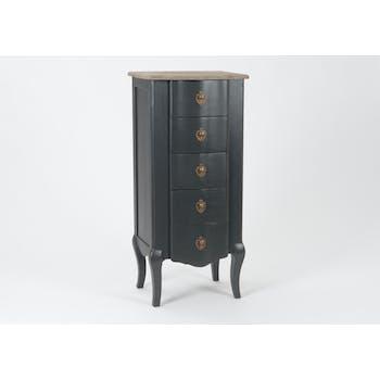 Chiffonier Baroque 5 tiroirs CELESTINE ARDOISE plateau bois naturel 50x40x110cm AMADEUS