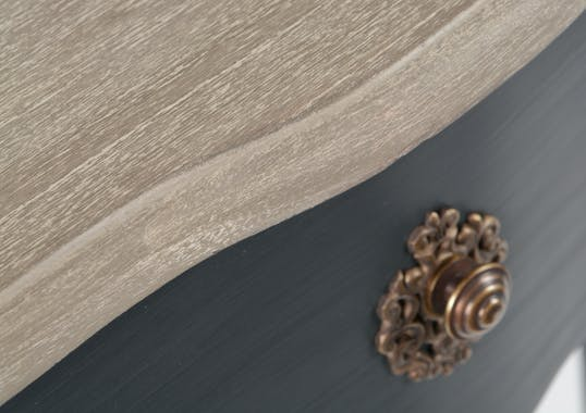 Console Baroque 1 tiroir CELESTINE ARDOISE plateau bois naturel 75x25x80cm AMADEUS
