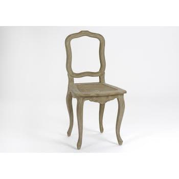 Chaise Cannée Baroque CELESTINE ARDOISE bois naturel 44x48x93cm AMADEUS