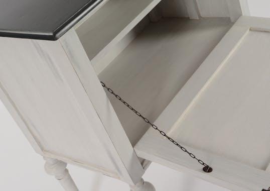 Buffet / Meuble de bar Baroque 1 porte à battant HERITAGE bois blanchi plateau anthracite 80x45x85cm AMADEUS
