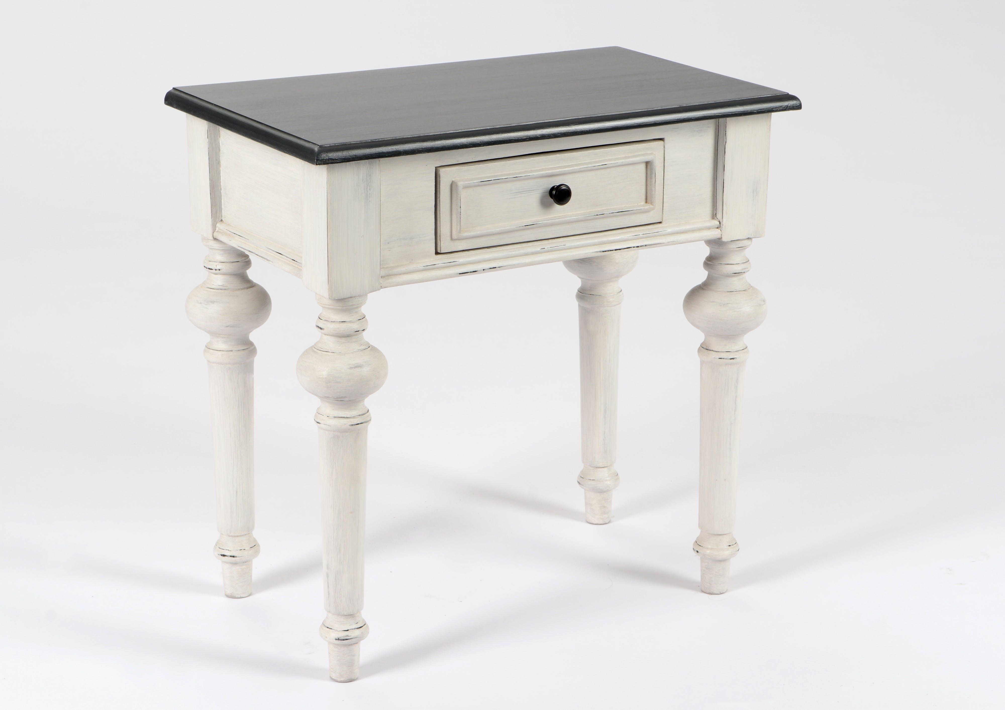 Table de chevet Baroque 1 tiroir HERITAGE bois blanchi plateau anthracite 50x30x50cm AMADEUS