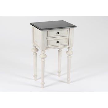 Table de chevet Baroque 2 tiroirs HERITAGE bois blanchi plateau anthracite 40x30x65cm AMADEUS