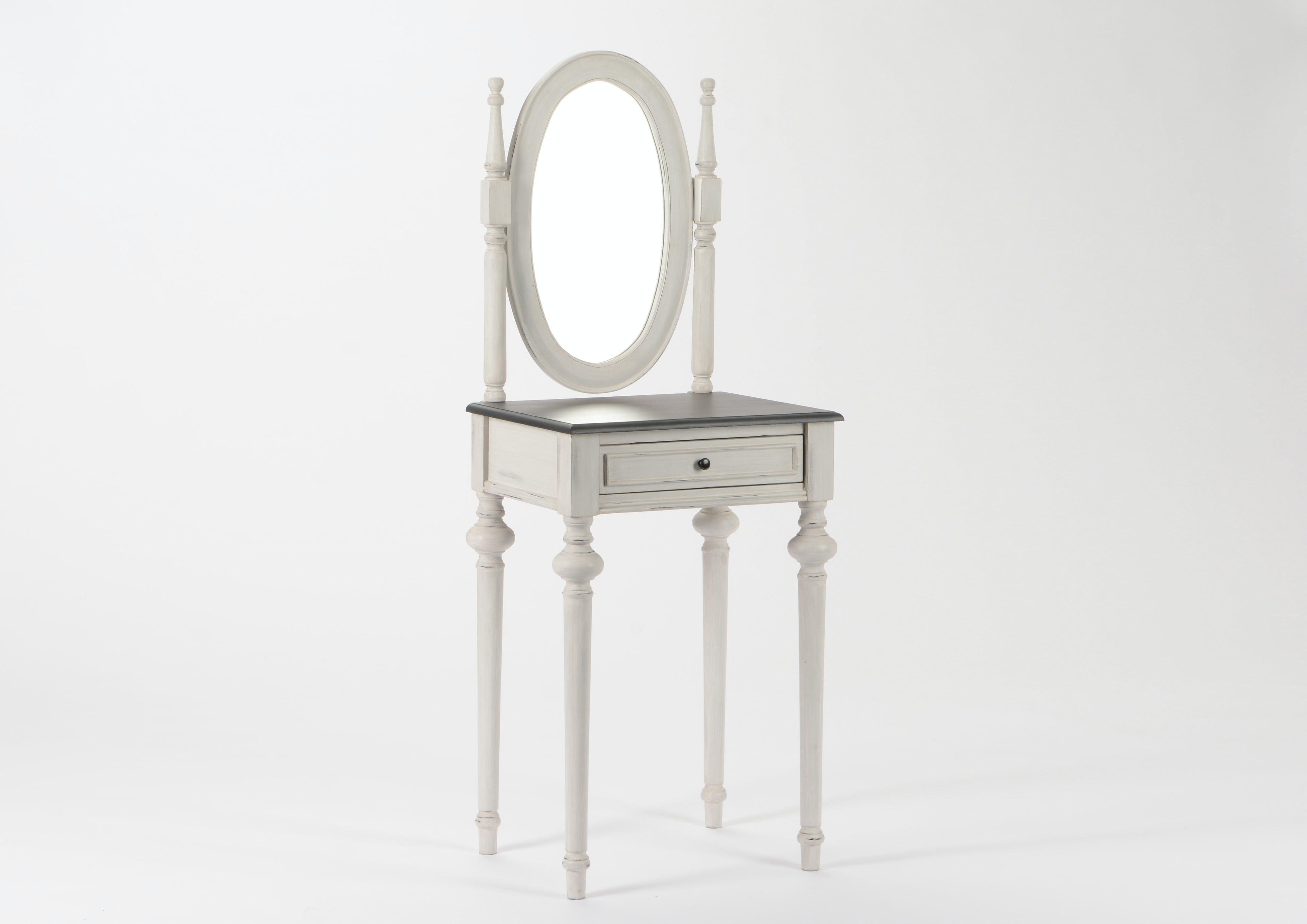 Coiffeuse Baroque 1 tiroir et miroir HERITAGE bois blanchi plateau anthracite 50x40x137cm AMADEUS