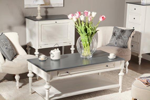 Table basse Baroque 1 tiroir, plateau bas HERITAGE bois blanchi plateau anthracite 120x60x50cm AMADEUS