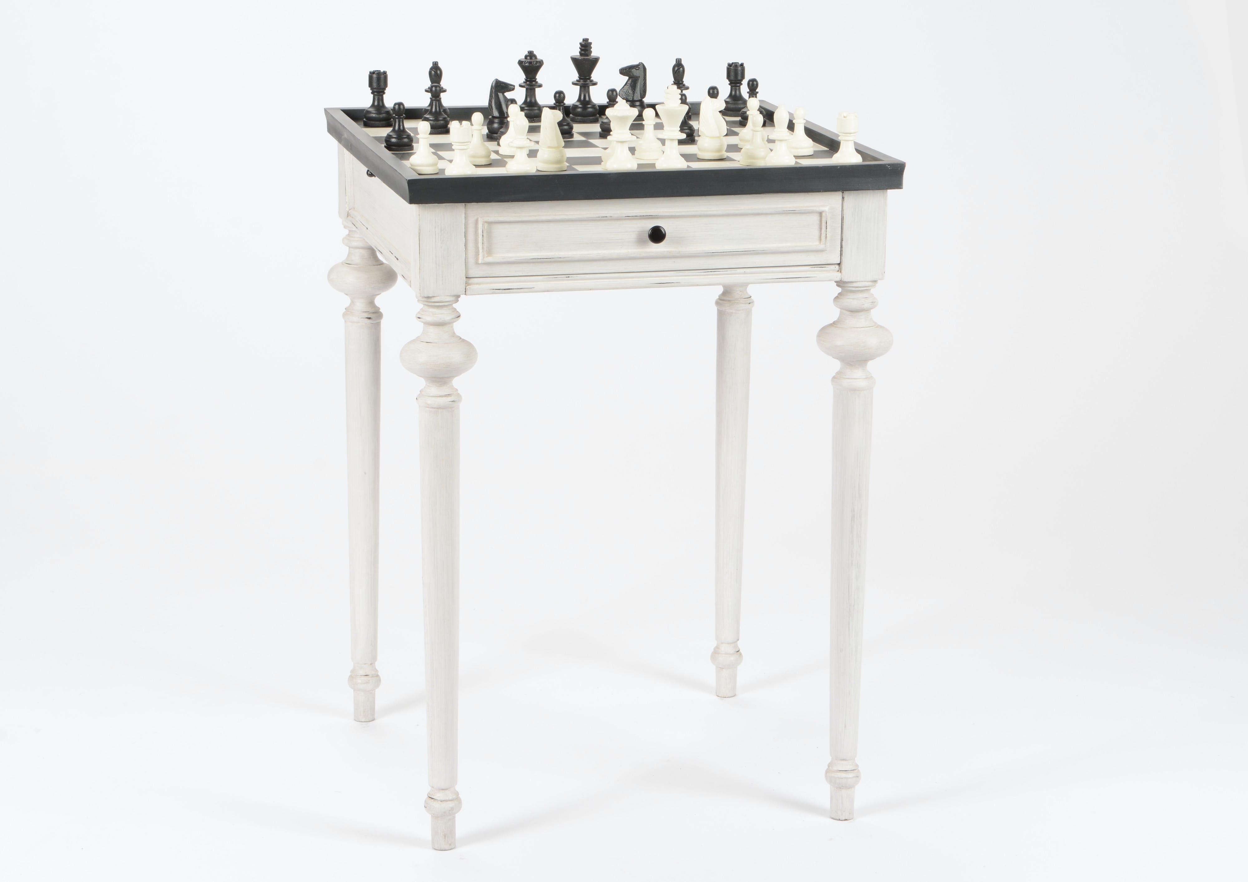 Table d'échec Baroque 1 tiroir HERITAGE bois blanchi plateau anthracite Echiquier 50x50x76cm AMADEUS