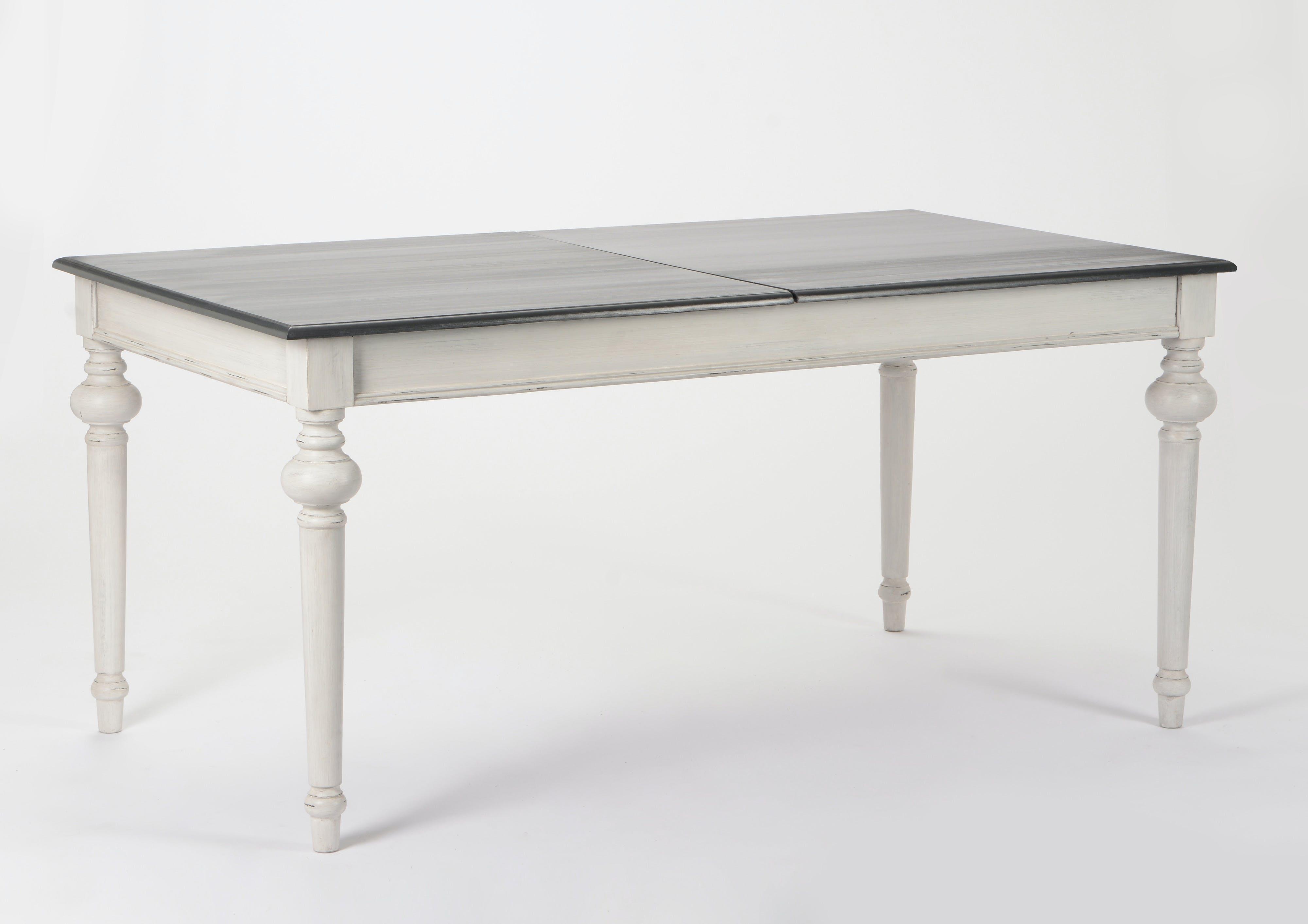 Table de repas rectangle Baroque HERITAGE bois blanchi plateau anthracite 160/200x90x75cm AMADEUS