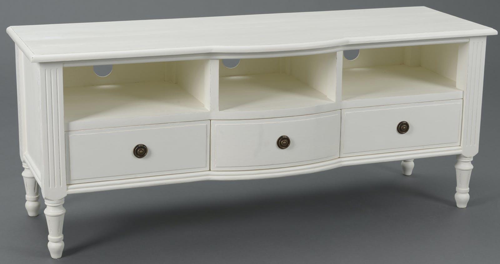 Meuble TV Classique Chic 3 tiroirs, 3 niches AGATHE 120x40x50cm Blanc Antique AMADEUS