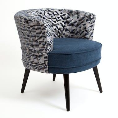 """Fauteuil Cabriolet en tissu toucher doux bleu, dossier motif """"Labyrinthe"""" 64x70x67cm ARENA"""