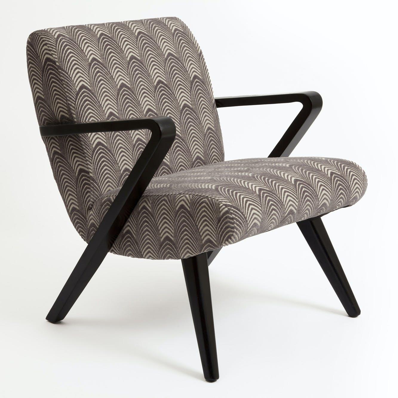 """Fauteuil Club en tissu toucher doux gris motif """"Art-Déco"""" 68x57x72cm BEAUX-ARTS"""
