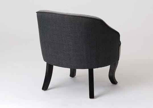 Fauteuil Crapaud Cabriolet tissu bicolor gris foncé pieds bois galbés 66x68x66cm BASSAN