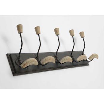 Patère en bois noir vieilli avec 5 crochets double en métal et bois naturel blanchi 63x10,5x20cm