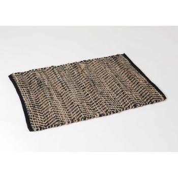 Tapis inspiration orientale tissé coton et jute noirs et naturels 120x180cm