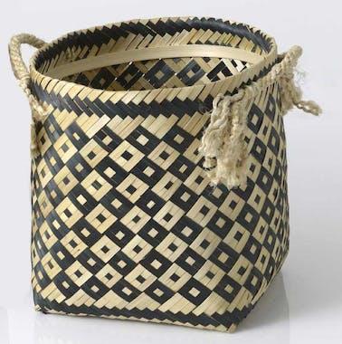 Panier déco petit modèle en bambou naturel et noir avec anses en corde 33x35x35cm
