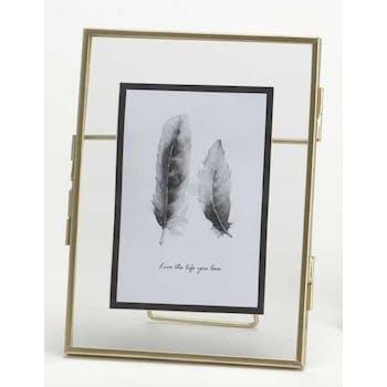 Cadre photo moyen modèle contour en métal doré 18.8x13.8cm