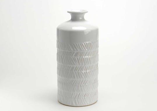 Vase Milos en céramique grise avec motif zig-zag en relief H34cm